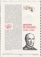 1ER JOUR  FEUILLET DOCUMENT PHILATELIQUE 98 528 ABOLITION DE L'ESCLAVAGE - Documents Of Postal Services