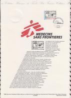 1ER JOUR  FEUILLET DOCUMENT PHILATELIQUE 98 546 MEDECINS SANS FRONTIERES - Documents Of Postal Services