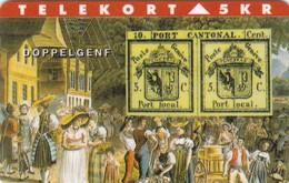 Denmark, TP 046, 5kr, Rare Stamps - Doppel Genf, Only 2000 Issued, Stamp On Card, 2 Scans. - Denmark