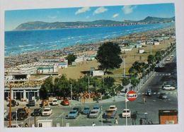 RIMINI - Riccione - Spiaggia - Auto - Distributore Benzina GULF - Sullo Sfondo Gabicce - 1971 - Rimini