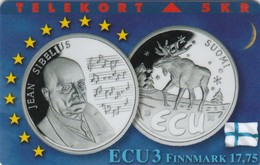 Denmark, TP 098A, ECU-Finland, Only 1500 Issued, Coins,Sibelius, 2 Scans. - Denmark