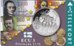 Denmark, TP 102A, ECU-Finland, Mint, Only 1500 Issued, Coins, Flag, Notes, 2 Scans. - Denmark