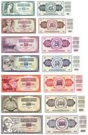 YUGOSLAVIA 1965 - 1986 Set Of 7 UNC Banknotes: 5,10,20,50,100,500,1000 - Billets