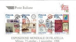 """PIA  -  ITALIE  -  1997  : Esposizione Mondiale Di Filatelia """"Italia  98"""" - Foglietto  -     (SAS  Bf 19 ) - Hojas Bloque"""