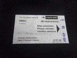 Ticket Transport - AUTRICHE VIENNE - Europe
