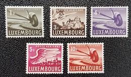 Luxembourg -Poste Aérienne 1946 (1f,3f,4f,5f,10f ) - Ongebruikt