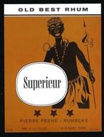 """Ancienne Etiquette Rhum Supérieur Old Best Rhum  Pierre Peine Rumbeke """" Guerrier"""" - Rhum"""