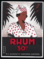 "Ancienne Etiquette Rhum 30% Sa Guyenne Et Gascogne Bayonne "" Femme Coiffe"" - Rhum"