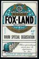 Ancienne Etiquette Rhum Fox Land Carte Bleue Martinique St Laurent Du Var  Imp L Ruel Poitiers - Rhum