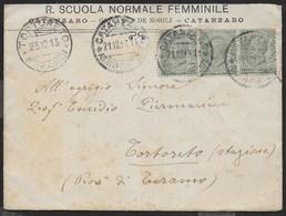 STORIA POSTALE REGNO - BUSTA INTESTATA SCUOLA DA CATANZARO 21.12.1913 PER TORTORETO STAZIONE (TE) - 1900-44 Victor Emmanuel III