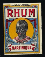 Ancienne Etiquette Rhum  Martinique Visage Homme  Imp E Cuvelier Paris  étiquette Vernie - Rhum