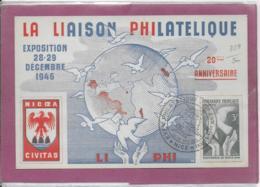 LA LIAISON PHILATELIQUE  Exposition 28-29  Décembre  1946 Timbre Conférence De PARIS - France