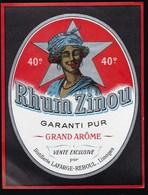 "Ancienne Etiquette Rhum Zinou Garanti Pur Grand Arôme Vente Exclusive  Distillerie Lafarge Reboul Limoges "" Femme"" - Rhum"