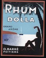 "Ancienne Etiquette Rhum Dollars Grand Arôme O Barré Poitiers Imp L Ruel  ""bateau Homme Palmier"" - Rhum"