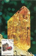 Carte Fdc Brésil 1998, N°2375-7 Yt, Minéraux, Alexandrite, Chrysobéryl,   Oeil De Chat, Indicolite, Topaze Impérial - Minéraux