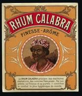 """Ancienne Etiquette Rhum Calabra Finesse Arôme Colonies Françaises  Visage Femme étiquette Vernie """"date Crayon 7 Nov 1922 - Rhum"""