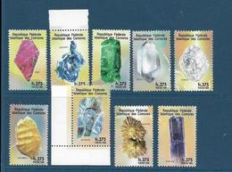 Série Neuve** Comores, Minéraux, N° 824 à 32, 1998, Rubis, émeraude, Diamant, Euclase, Kasolite, Liroconite, Indigolite, - Minerals
