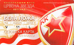 BASKETBALL ANNUALY TICKET , VIP SEAT - RED STAR BELGRADE SERBIA - Sports