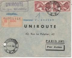 Lettre Recommandée De Moudou Afrique Equatoriale Francaise Pour PARIS 1957 - Sin Clasificación