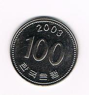 &  ZUID KOREA 100 WON 2003 - Corée Du Sud