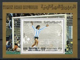 Yemen Arab Republic, 1980, Soccer World Cup Argentina, Football, MNH Perforated, Michel Block 203 - Yémen