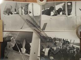 4 Photographie Originales  Avion Farman Visite Officiers Français Années 1920 - Aviazione