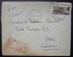 Walincourt (Nord) 1950 Lettre Recommandée Pour Caen - Marcofilie (Brieven)