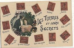 CPA Fantaisie Les Timbres Et Leurs Secrets Semeuse - Timbres (représentations)