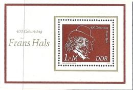 République Démocratique Allemande, Bloc Feuillet N°59, Anniversaire De La Naissance De Franz Hals, Autoportrait - [6] République Démocratique