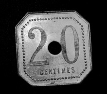 "Jeton De Nécessité Type 2 ""20 Centimes / Chocolat Menier"" Noisiel - Emergency Token - Monetary / Of Necessity"