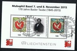 """2015 Sonderblock """" Mubaphil 170 Jahre Basler Tauben """" Liechtensteiner Post AG Sonderstempel Mit Gummierung Siehe Scan - Blocks & Kleinbögen"""