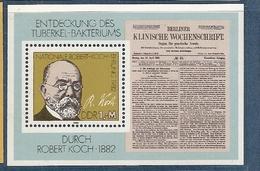 République Démocratique Allemande, Bloc Feuillet N°65, Découverte Du Bacille De La Tuberculose Par Robert Koch - [6] République Démocratique