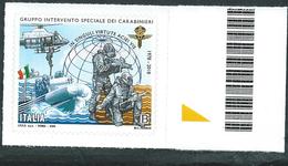 Italia 2018; Gruppo Di Intervento Speciale Dei Carabinieri: Francobollo  Di Bordo Destro. - 6. 1946-.. Repubblica