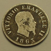 1863 - Italie - Italy - Kingdom, 50 CENTESIMI, (M BN) Milan, VITTORIO EMANUELE II, Argent, Silver, KM 4a.1 - 1861-1878 : Victor Emmanuel II