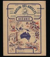 """Protege Cahier Illustré  Vetements Maison Des Abeilles  Briquebec Valogne """"océanie""""kangourou Crocodile Vahinée - Protège-cahiers"""