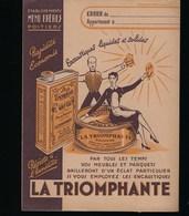 Protege Cahier Illustré  La Triomphante  Encaustique Liquide Et Solide  Ets Menu Frères Poitiers - Protège-cahiers