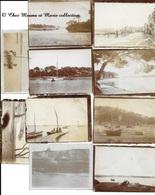 PORT QUAI BORD DE MER BATEAUX VOILIERS A SITUER - BRETAGNE - LOT DE 10 PHOTOS 9 X 6.5 CM - Lieux