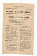Liste , élection CONSEIL DE LA REPUBLIQUE , 1946 ,Union Républicaine Et Résistante , LUSIGNAN , Vienne, Frais Fr 1.45 E - Vieux Papiers