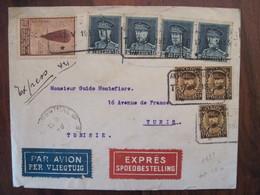 Belgique 1933 TUNISIE Tunis Cover France Colonie Enveloppe Empire Par Avion Airmail Express Anvers - Postmark Collection