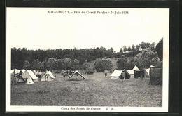 AK Gruppe Beim Camping Mit Aufgebauten Zellten - Pfadfinder-Bewegung