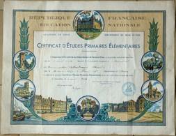 Certificat D'Etudes Primaires 1954, Diplome Illustré, Seine Et Oise. - Diploma & School Reports