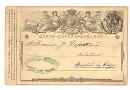 Carte Correspondance Entier Postal 1872 - De HEUVY LEZ NAMUR à HERSTAL LEZ LIEGE - J. Thonar Dejaiffe - Entiers Postaux