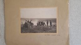 PHOTO ORIGINALE SUR CARTON CANON DE 105 EXECUTANT UN TIR FORMAT PHOTO 16.50 X 12 CM  ET CARTON 29 X 22 CM - War, Military