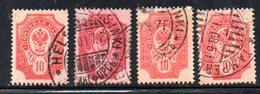 R469 - FINLANDIA 1901 , Quattro Valori Usati Con Diversi Annulli - Gebruikt
