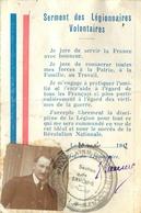 Carte De Legionnaire Volontaire - LEGION FRANCAISE DES COMBATTANTS -  Datée 20 Mai 1942 - - Guerre 1939-45