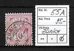 1882 - 1889 ZIFFERMUSTER Faserpapier Form A → SBK-55A  ►Stempel Zürich◄ - 1882-1906 Armoiries, Helvetia Debout & UPU