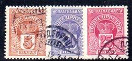 R428 - MONTENEGRO 1907 , Tasse Unificato N. 20+21+22  Usati - Montenegro