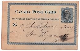 Postal Stationery Dixville 1880 Canada Queen Victoria One Cent Entier Postal - 1860-1899 Regering Van Victoria