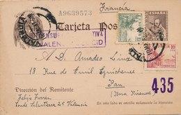 Entier Postal + Complement Valencia Censura Gubernativa Pour Pau - 1931-Hoy: 2ª República - ... Juan Carlos I