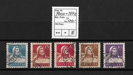 1932-1933 Tell Brustbild → Sämisches Faserpapier/geriffeltes Papier  ►SBK-160z - 184z◄ - Gebraucht
